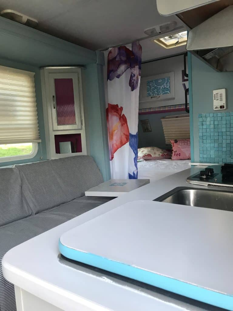 Camper remodel with fresh colors