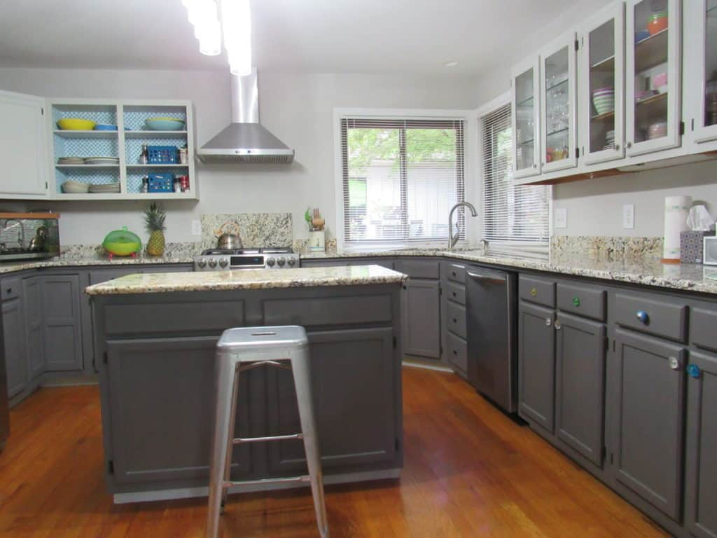 kitchen after painting with light and dark gray color
