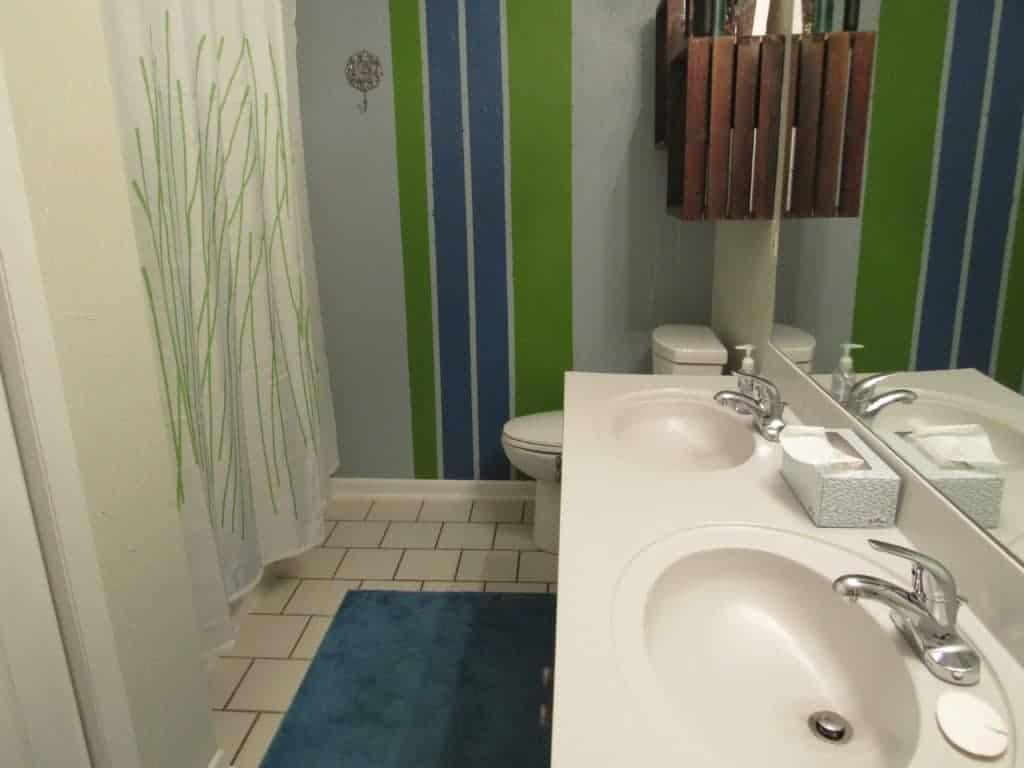 bathroom wall with stripes