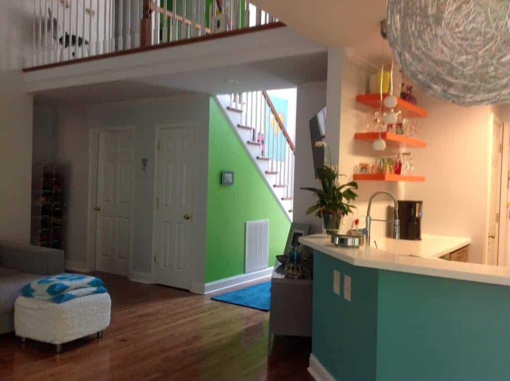 glamorous accent walls open floor plan