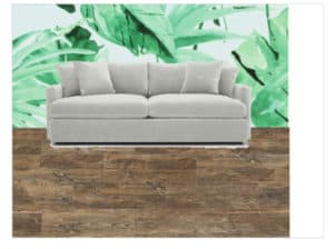 Wall mural and couch