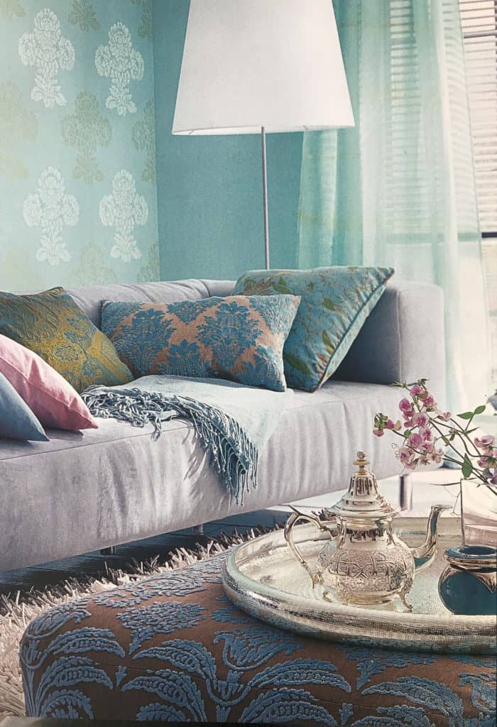 blue/green living room and textiles