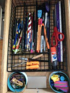 Organized junk drawer after 21-days Declutter Challenge