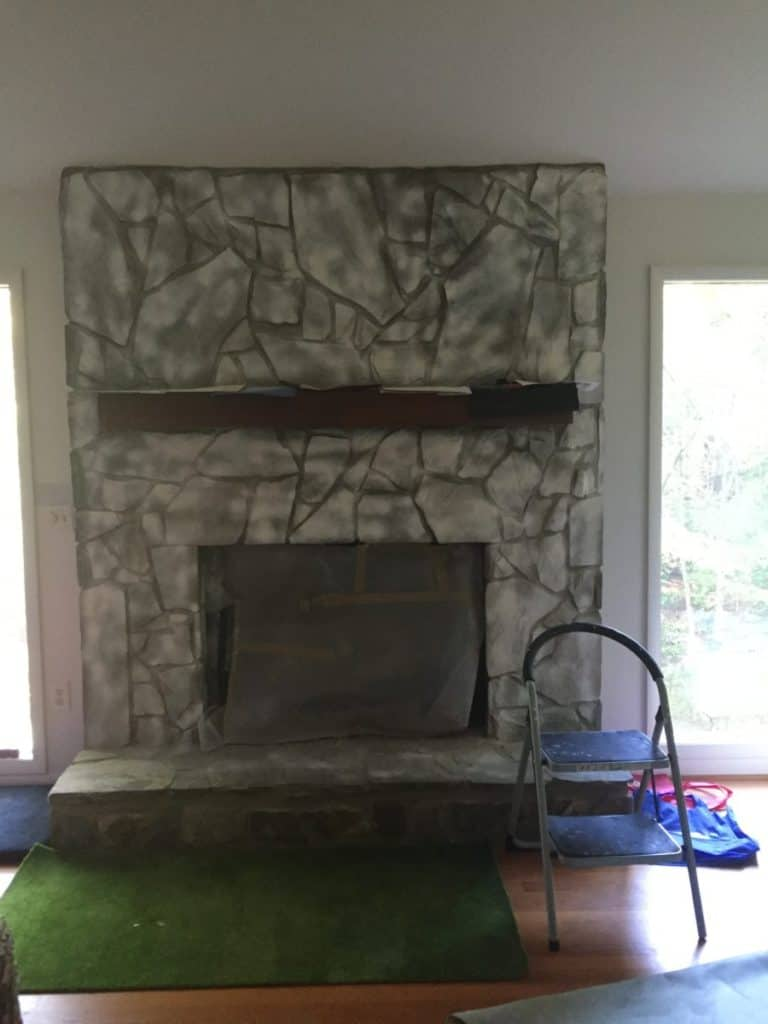 Fireplace after priming