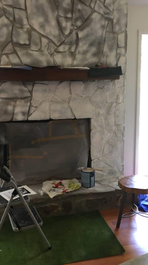 how to paint your brick fireplace, 1 coat of paint