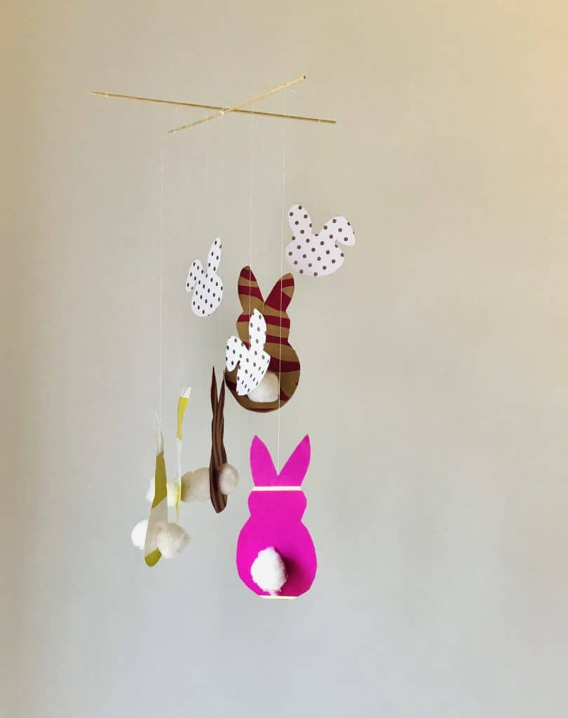 DIY easy easter decorations Bunny mobile