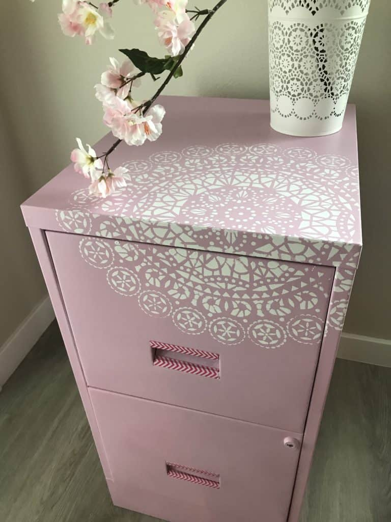 metal cabinet finished with stencil.