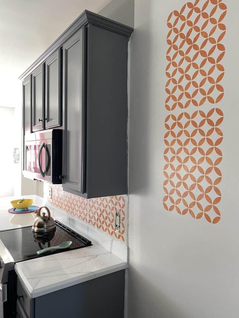 kitchen with stencil in orange