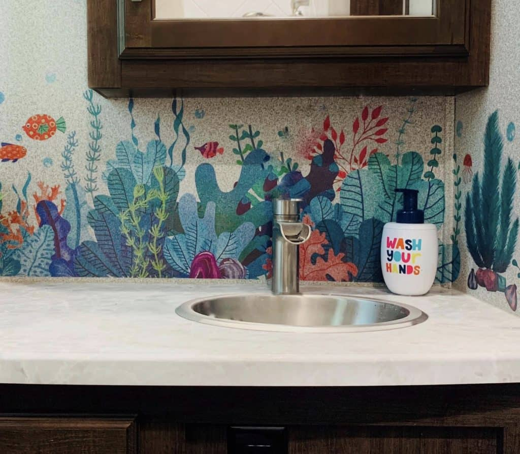 Add decals or stickers or peel and stick wallpaper to update the walls of your RV.