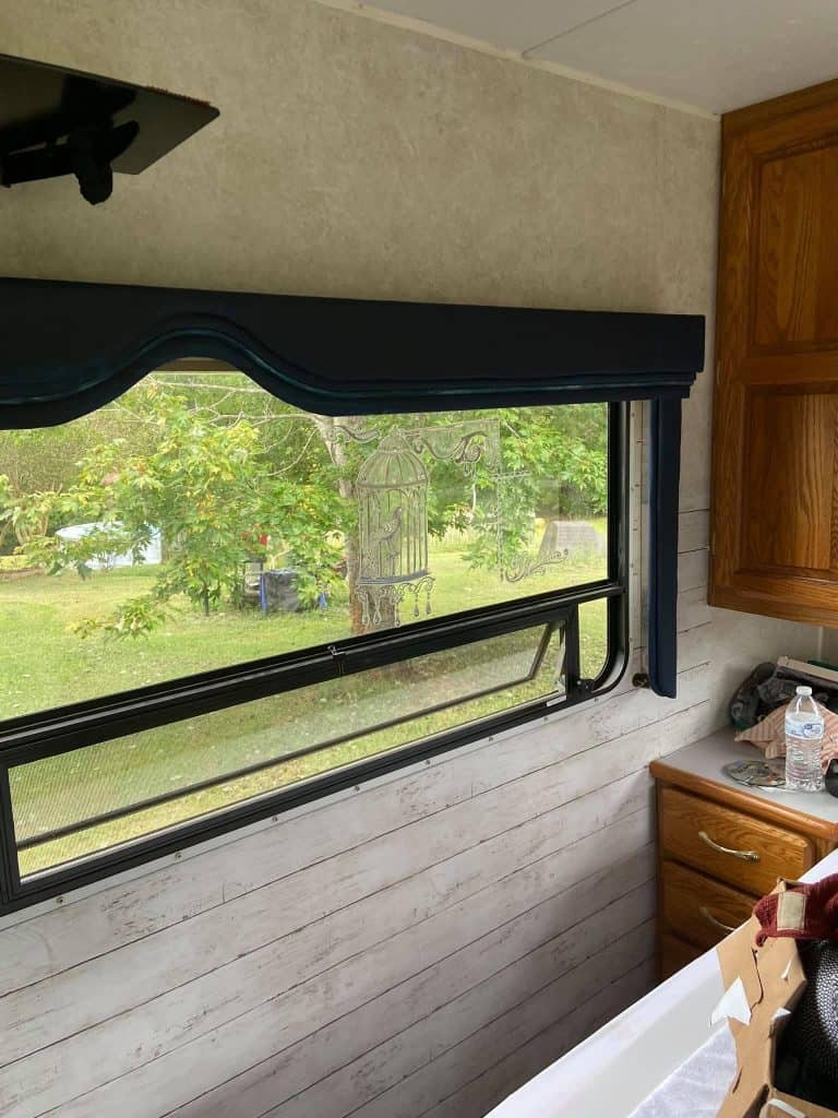 Add peel and stick wallpaper if you don't want to paint your RV.
