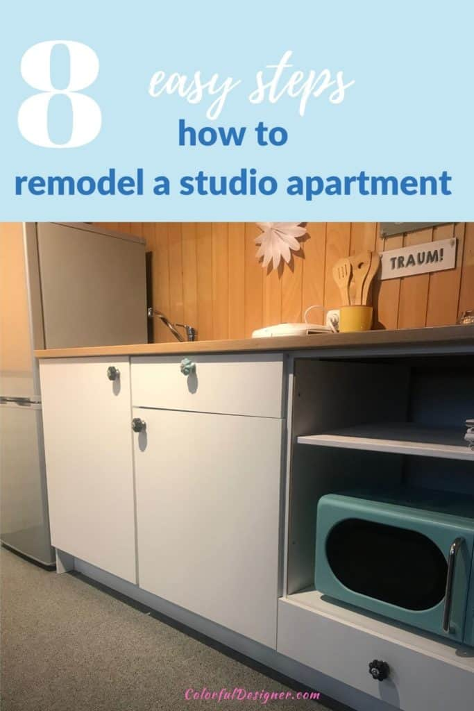 8 easy steps how to remodel a studio apartment with a fresh color scheme and the right furniture. Makeover of a studio apartment with fresh colors.