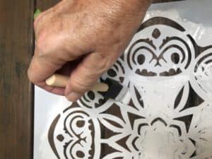 stencil with foam brush