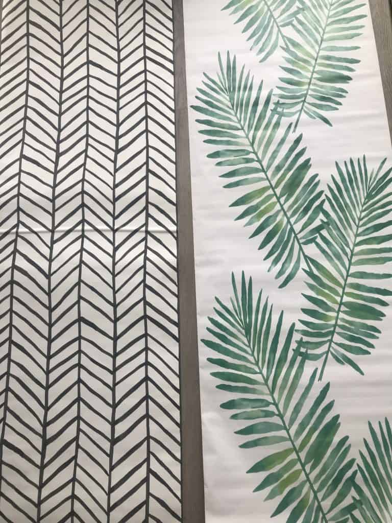 two choices of peel and stick wallpaper for my bathroom