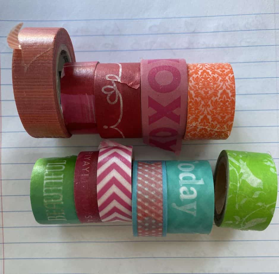 washi tape collection to hang up decor easily. 7 Best ways to hang wall decor easy in an RV or rental place