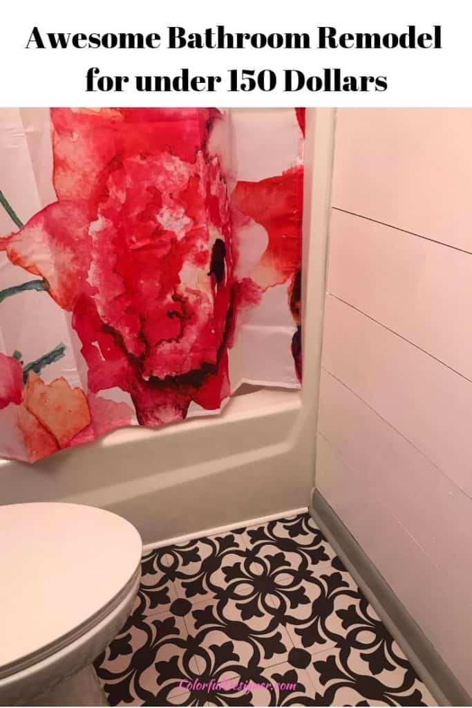Faux Shiplap, new Shower Curtain and fresh paint updated this awesome bathroom