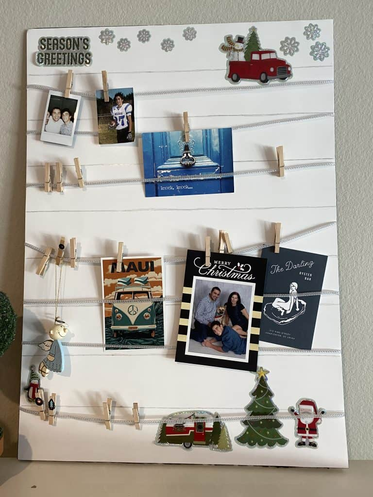 Farmhouse style mood board decorated with cards and Christmas decor
