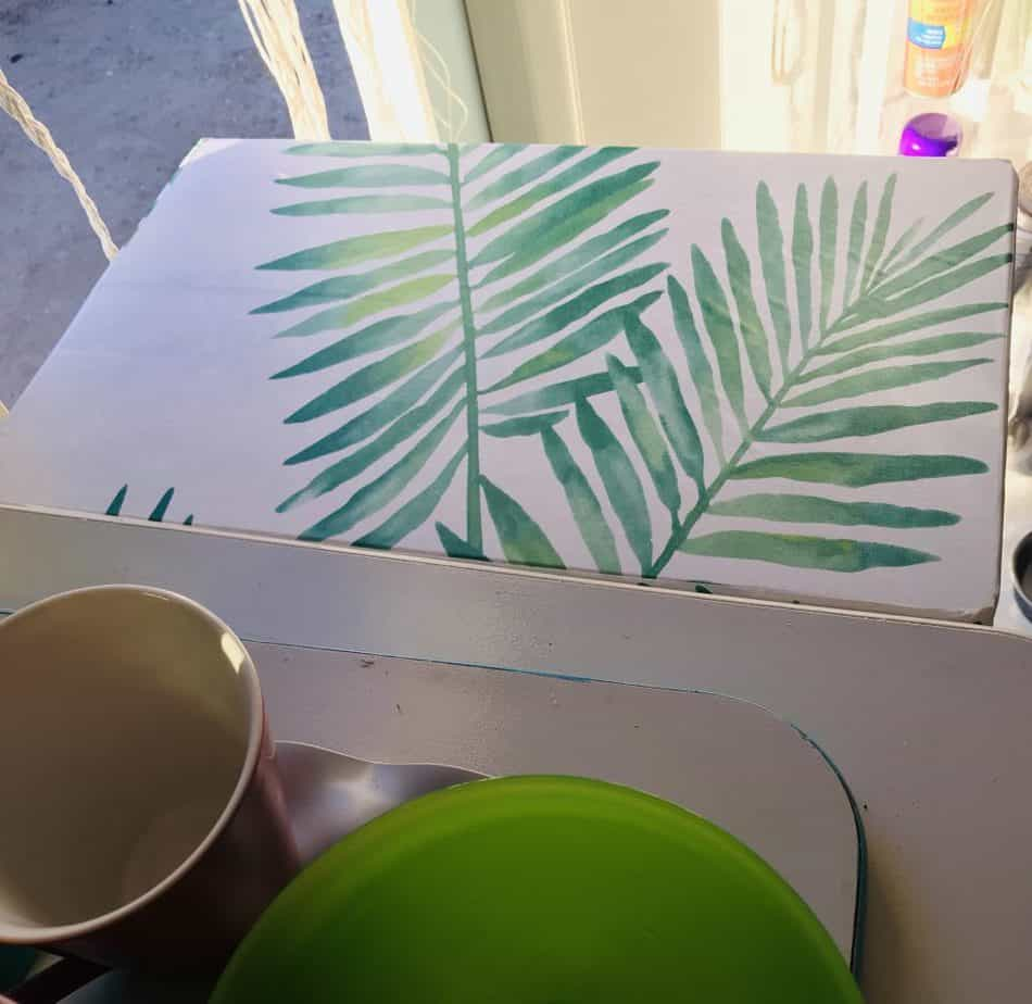 cutting board covered with wallpaper / contact paper