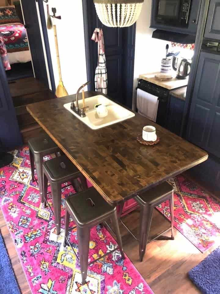 How to remodel an RV pretty colorful (Boho Style), bar instead of a dinette