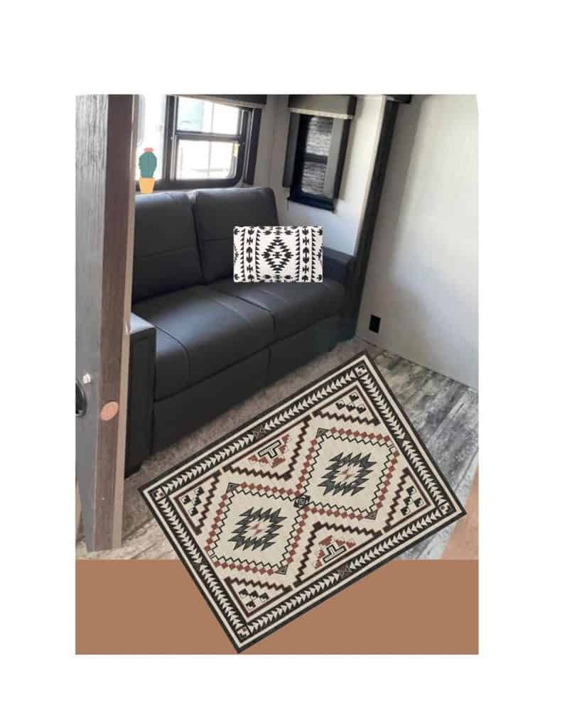 Sofa with pillow and new rug, How to update a Camper easy with the right textiles 3 quick and easy remodel tips to make your RV cozy