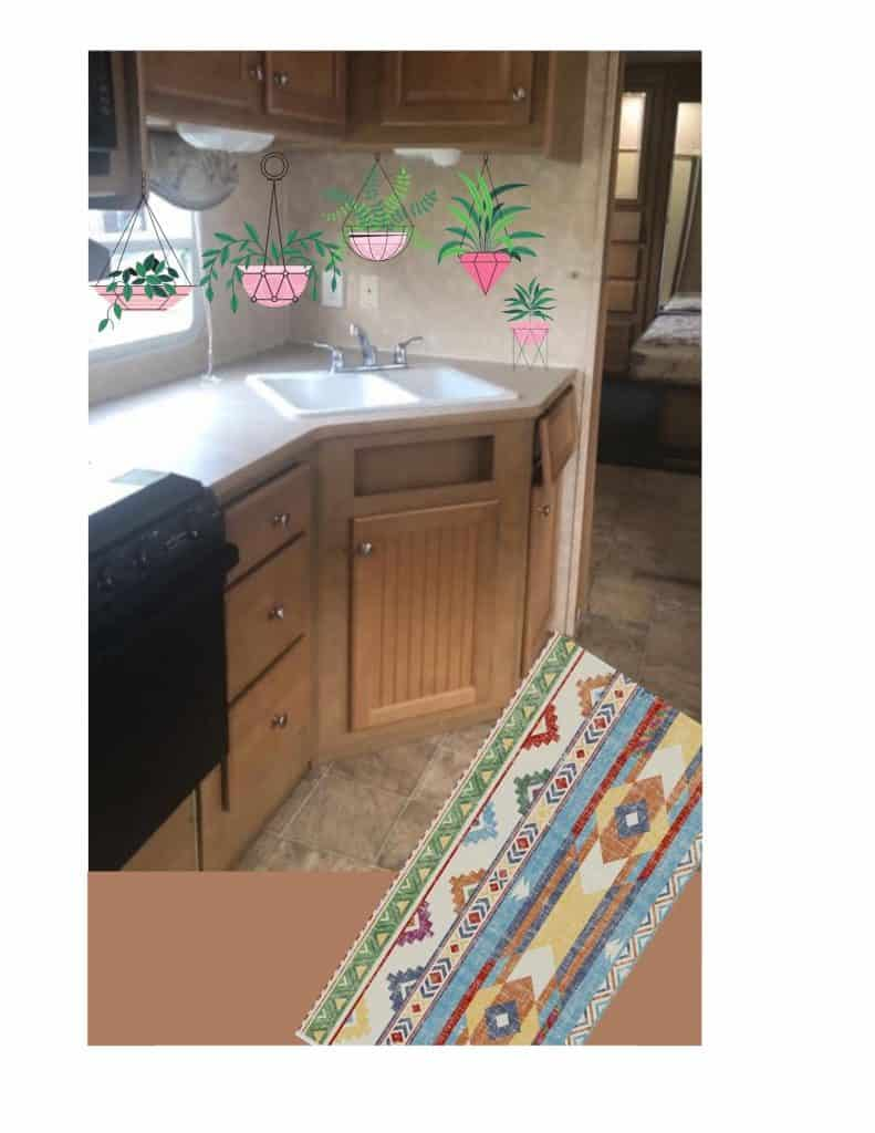Dated looking kitchen updated with a colorful rug and hanging plants to change the color scheme.  How to update a Camper easy with the right textiles