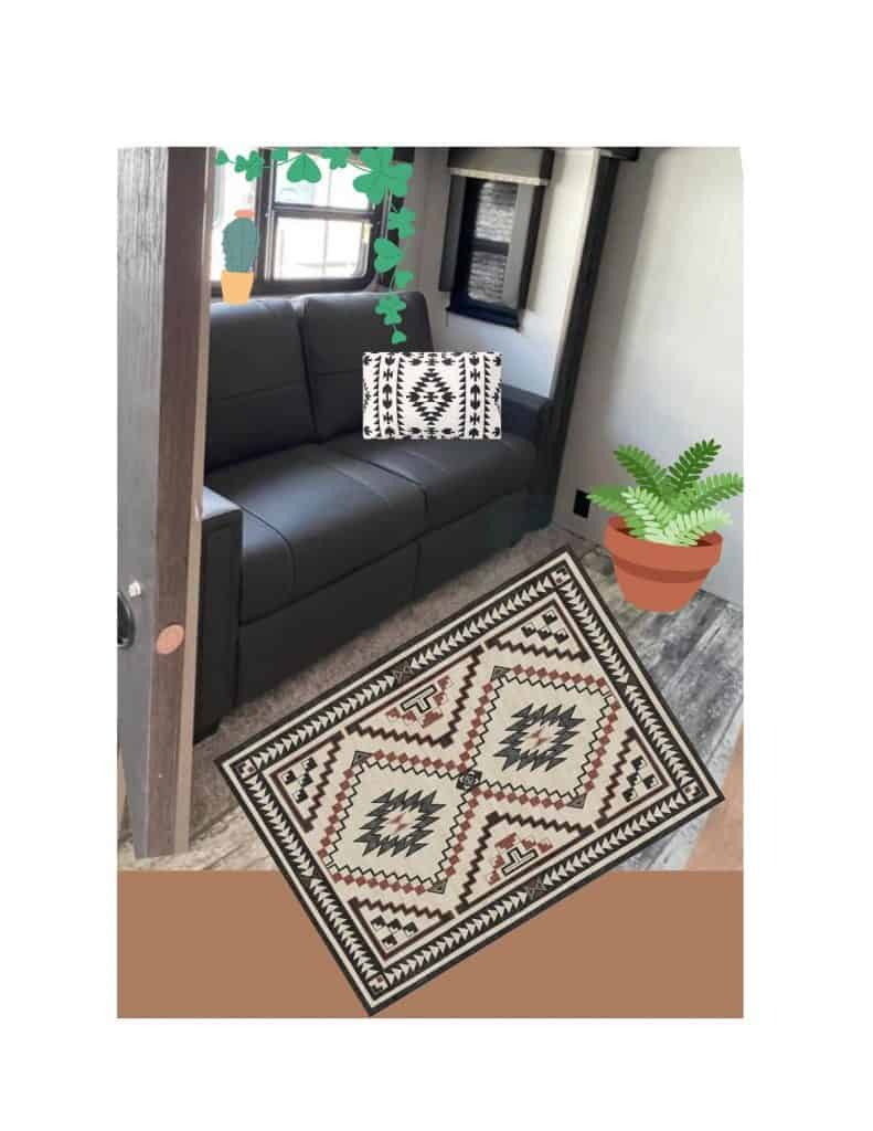 camper with textiles and plants Updated interior of an RV with rug, pillow and plants. How to update an RV easy with textiles.  3 quick and easy remodel tips to make your RV cozy