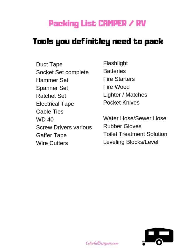 Packing List - what to pack when going on an RV trip.