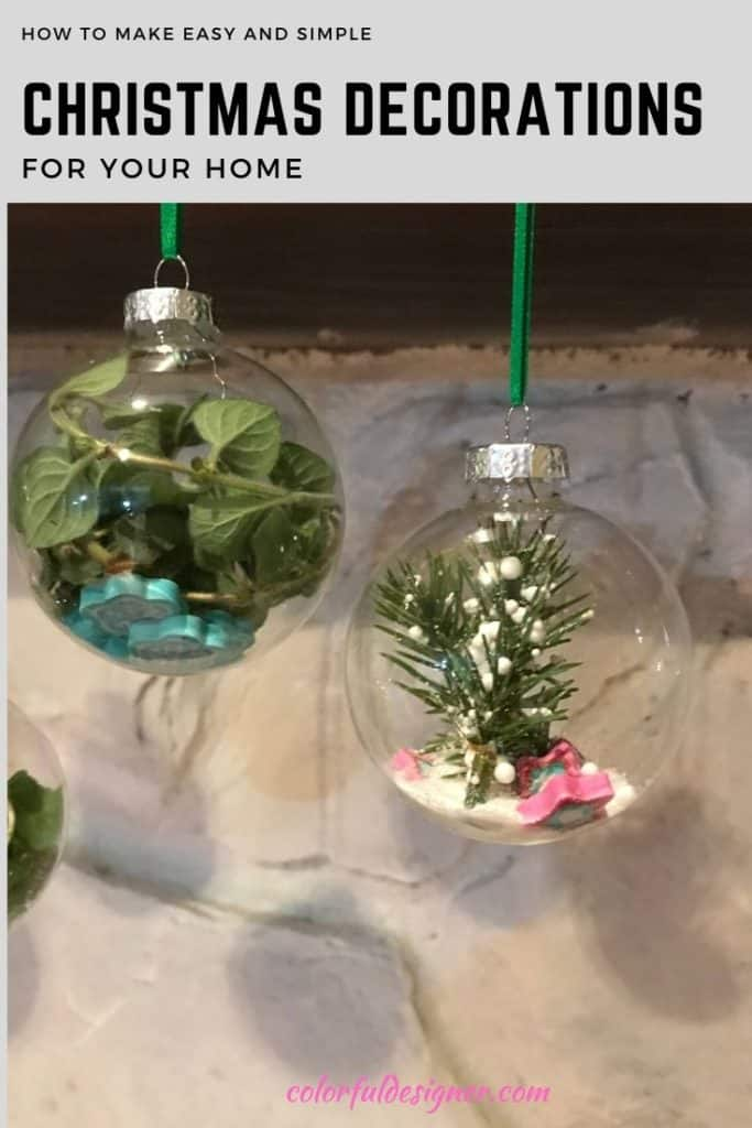 Glass ornaments filled with leaves and sand