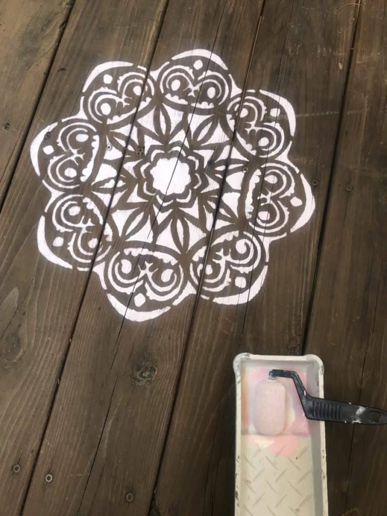 stencil with small foam roller