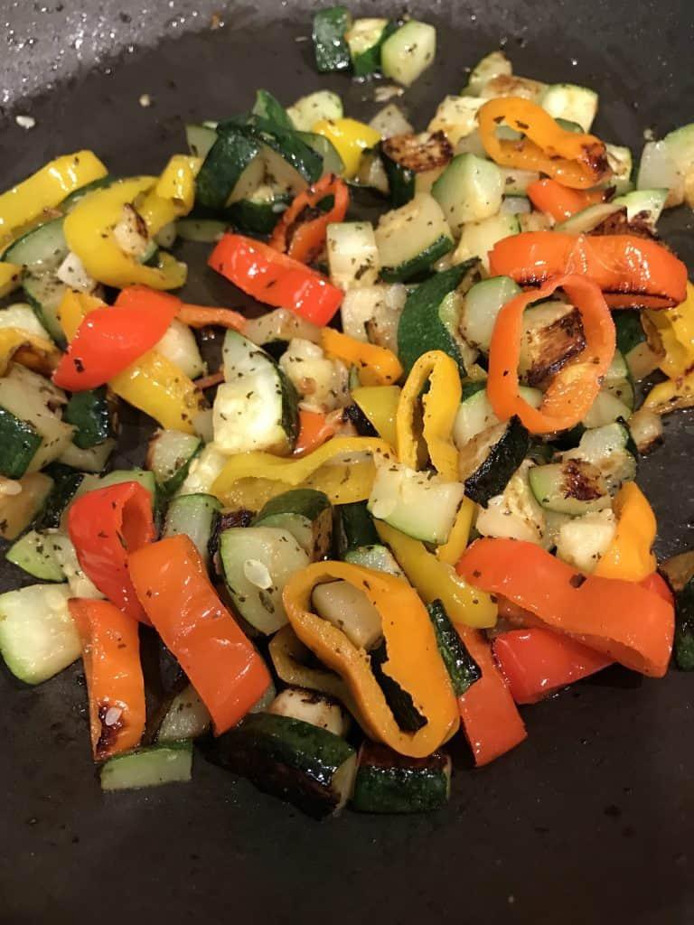 browned vegetables in pan