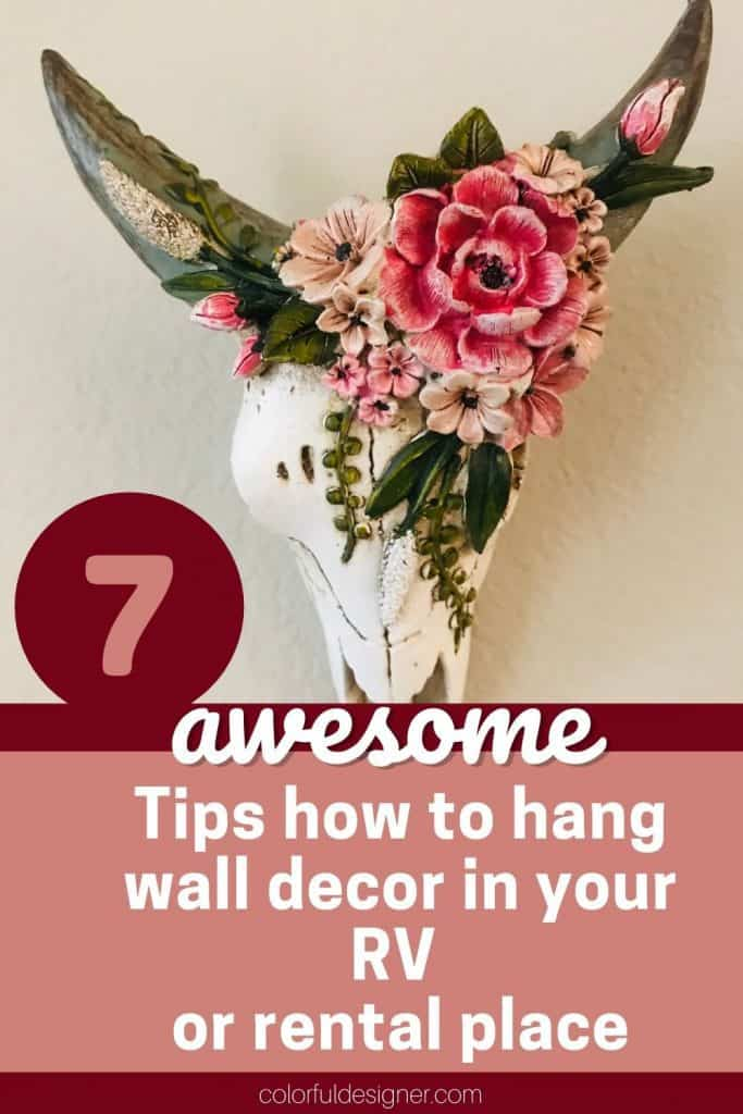 7 Best ways to hang wall decor easy in an RV or rental place without drilling holes.