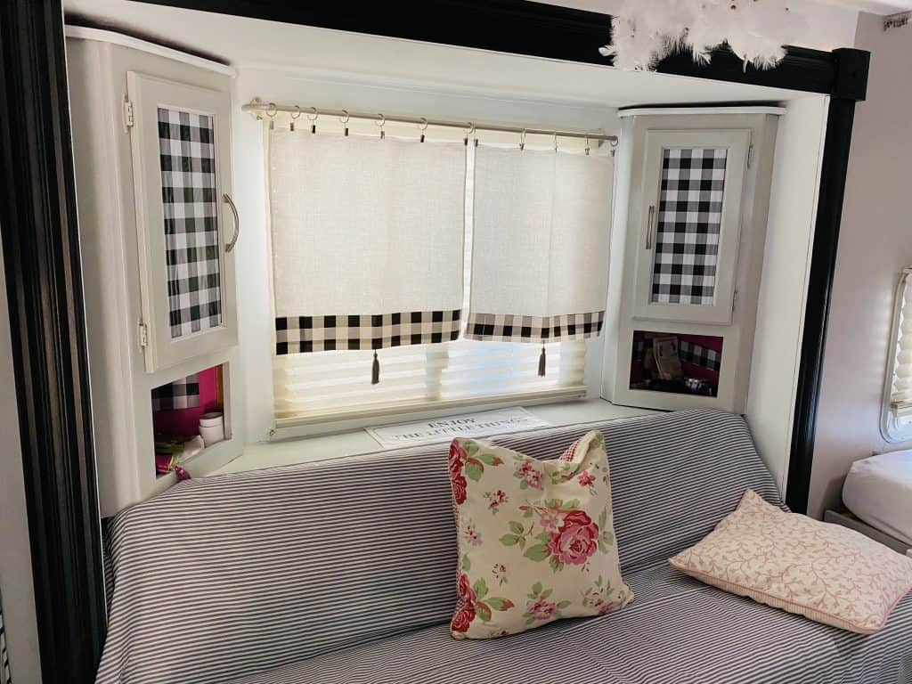 Curtains with a buffalo plaid pattern