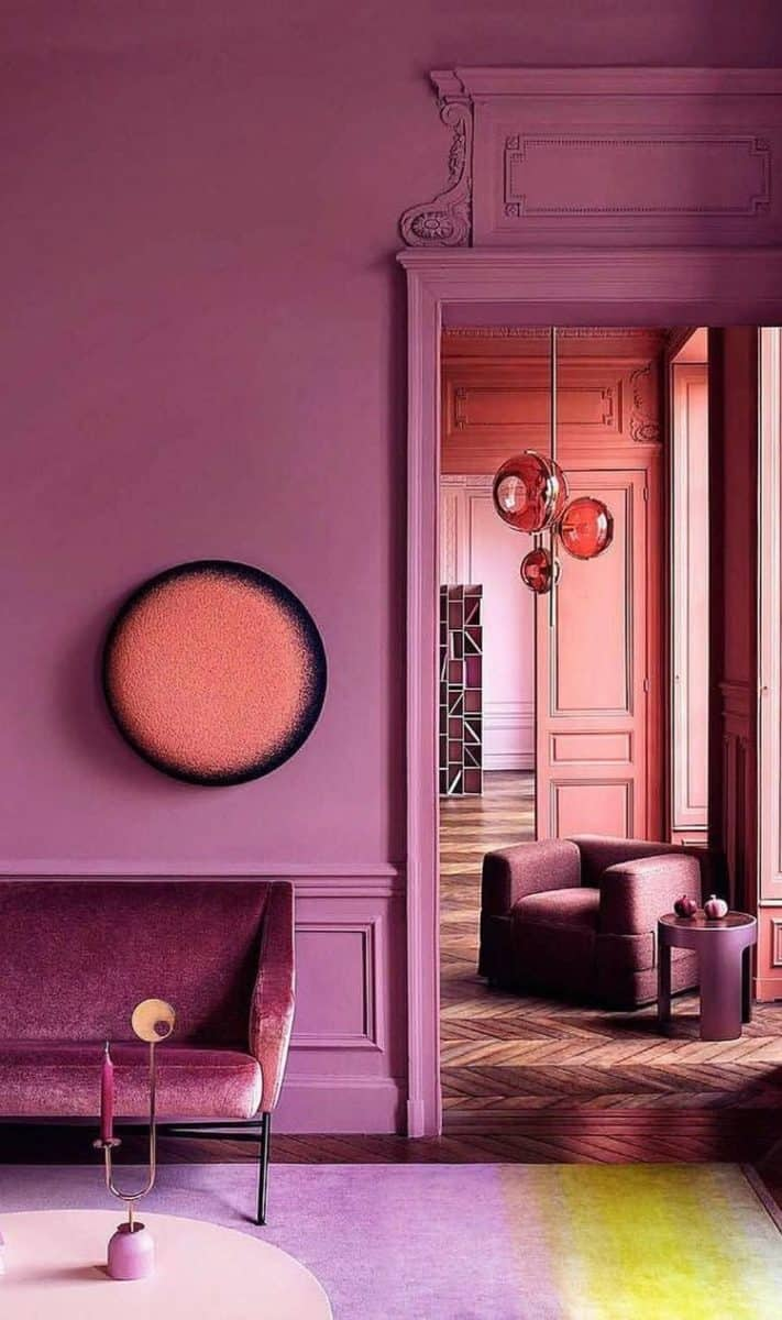 Pink Interior Walls in combination with orange and yellow