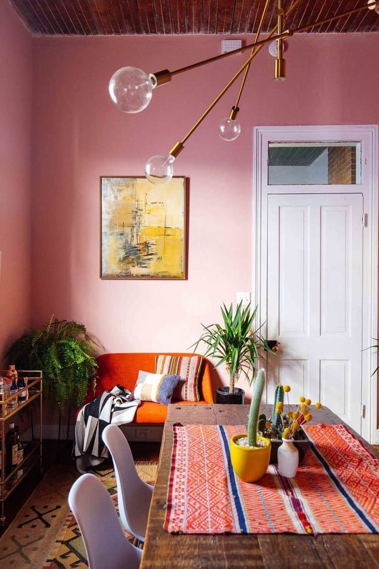 Pink Walls in combination with orange and white