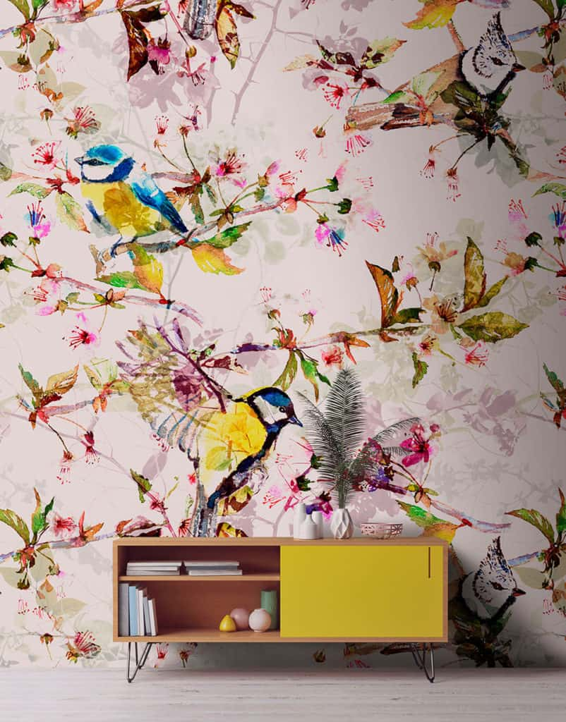 Accent wallpaper with a bird pattern