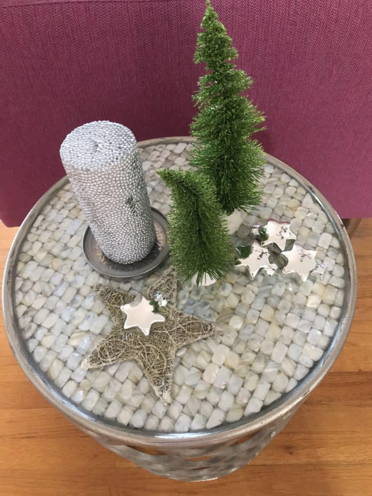 Side table with Christmas decoraition