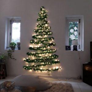 Wall Christmas Tree DIY with garlands