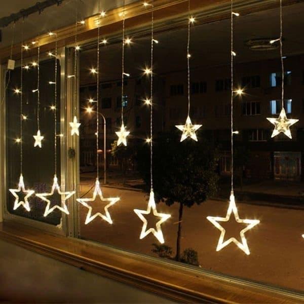 string lights stars for window decoration.