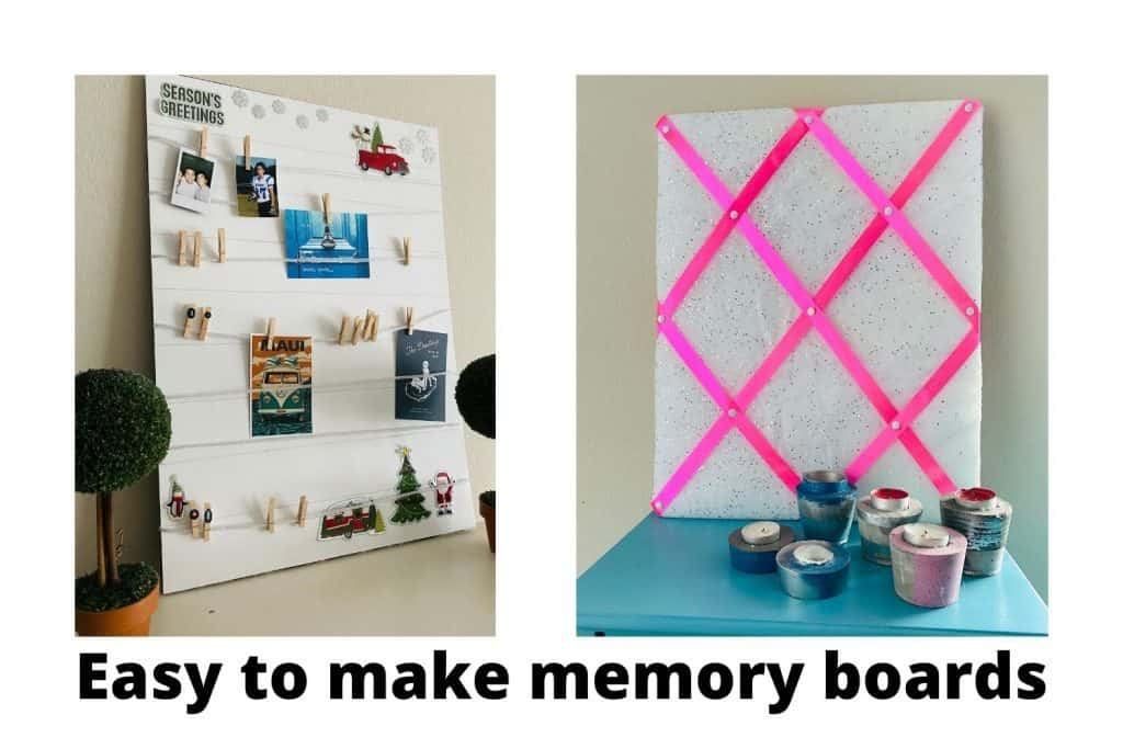 Pretty memory boards made out of foam board and string or rope.