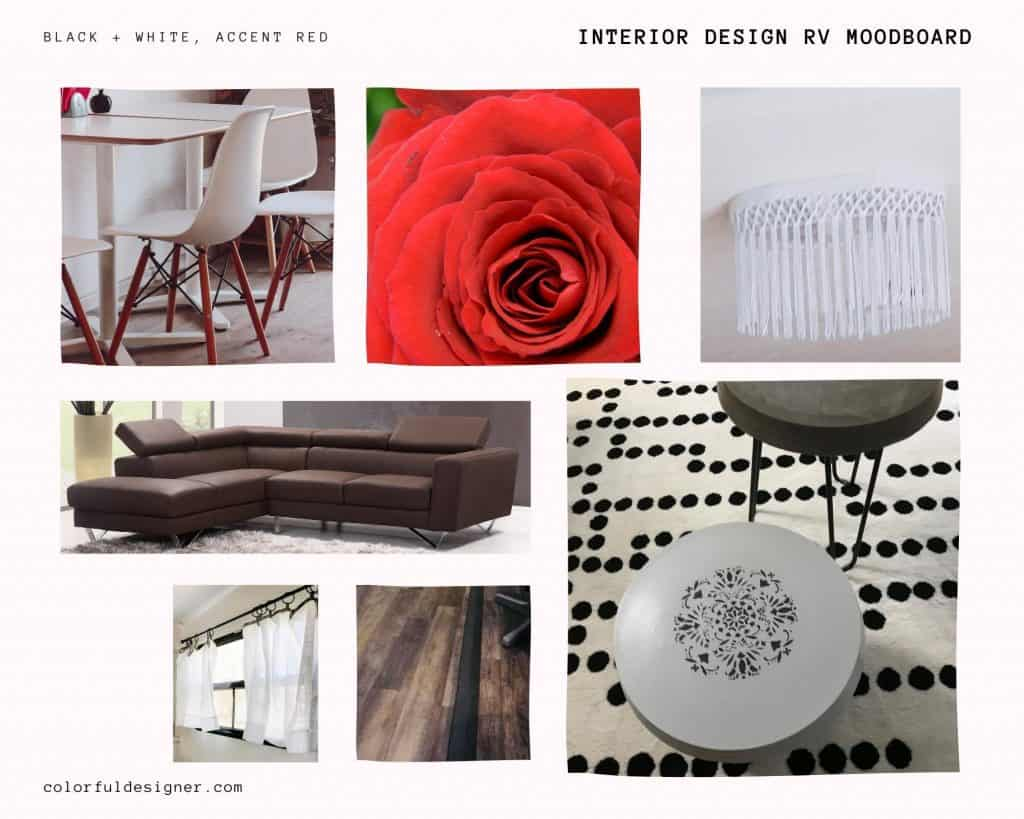 Moodboard black white red