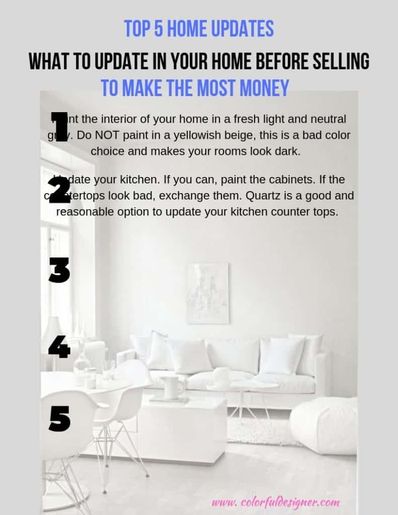 Top 5 List of Home Updates you have to do before selling your home.