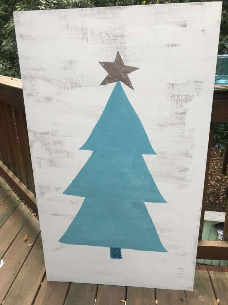 paint your Christmas tree on a plywood board and decorate it easy to make Christmas decorations for your RV
