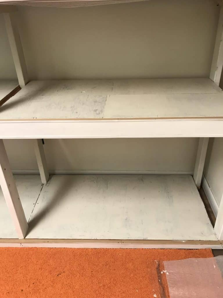 storage shelf painted white