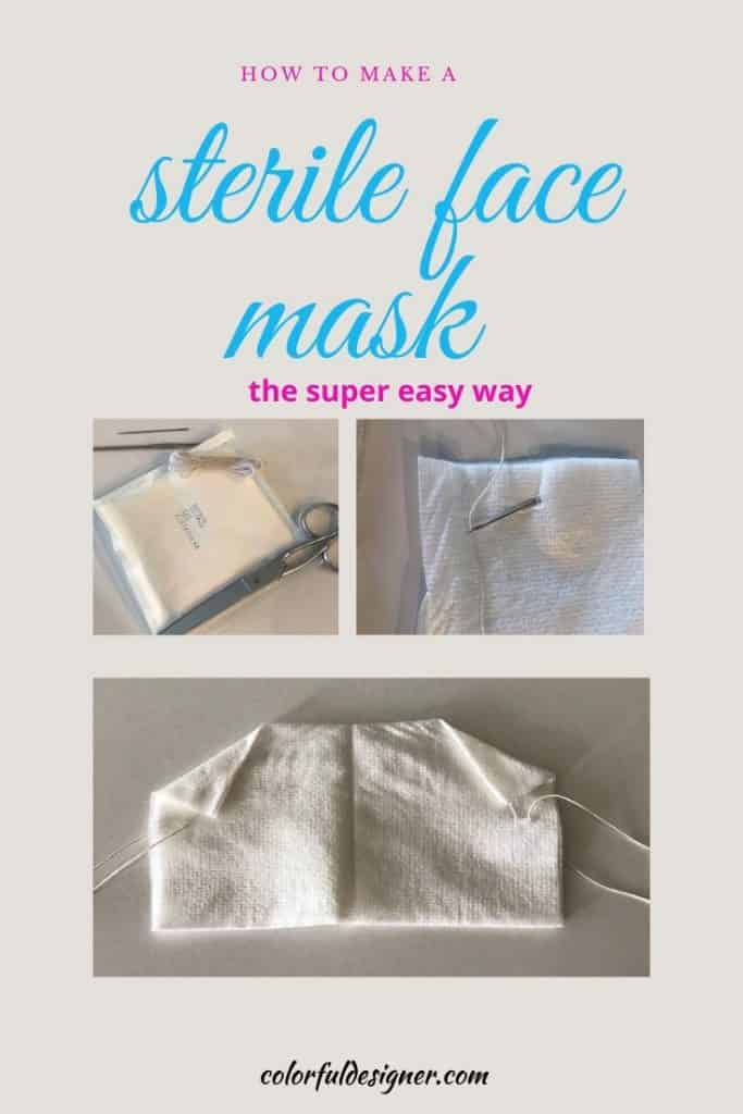 How to make a sterile no-sew face mask the super easy way. Homemade, no sew face mask, anybody can make cheap and easy, DIY.