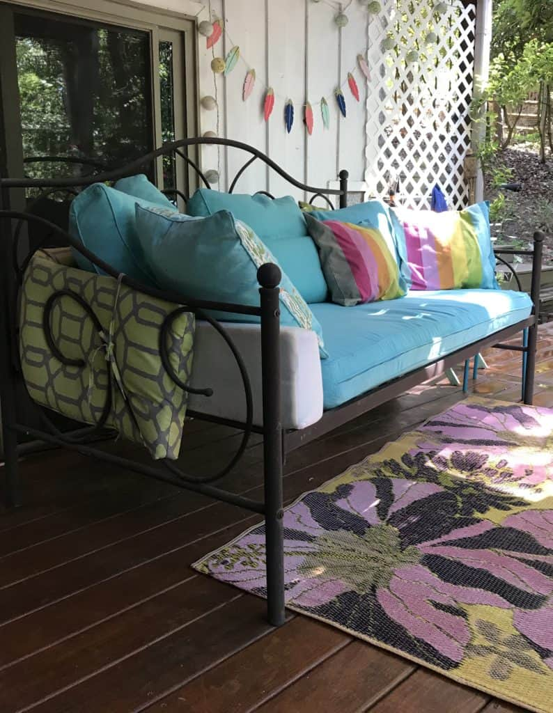 pretty daybed used as comfortable couch