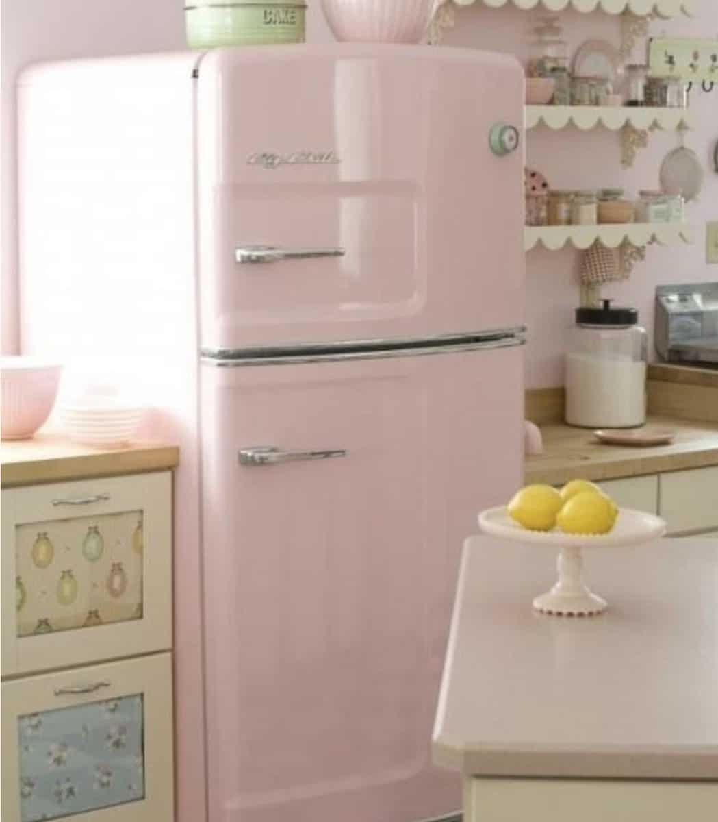 pink fridge in an updated kitchen