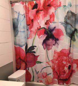 colorful shower curtain to update this awesome bathroom remodel