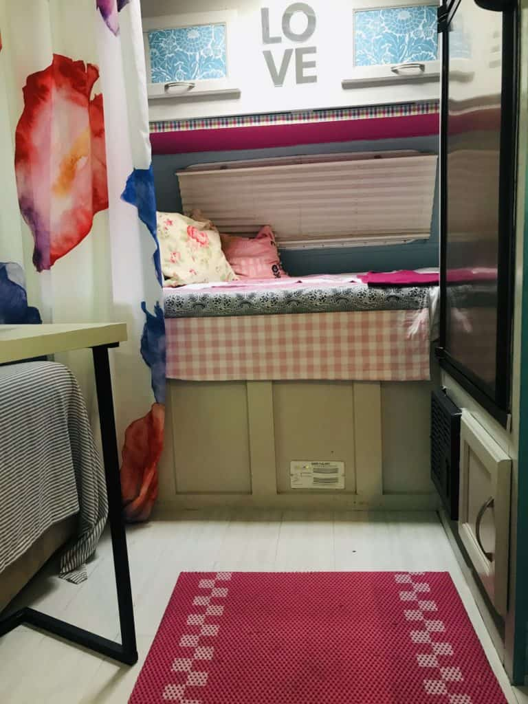 Camper after the remodel with happy colors.