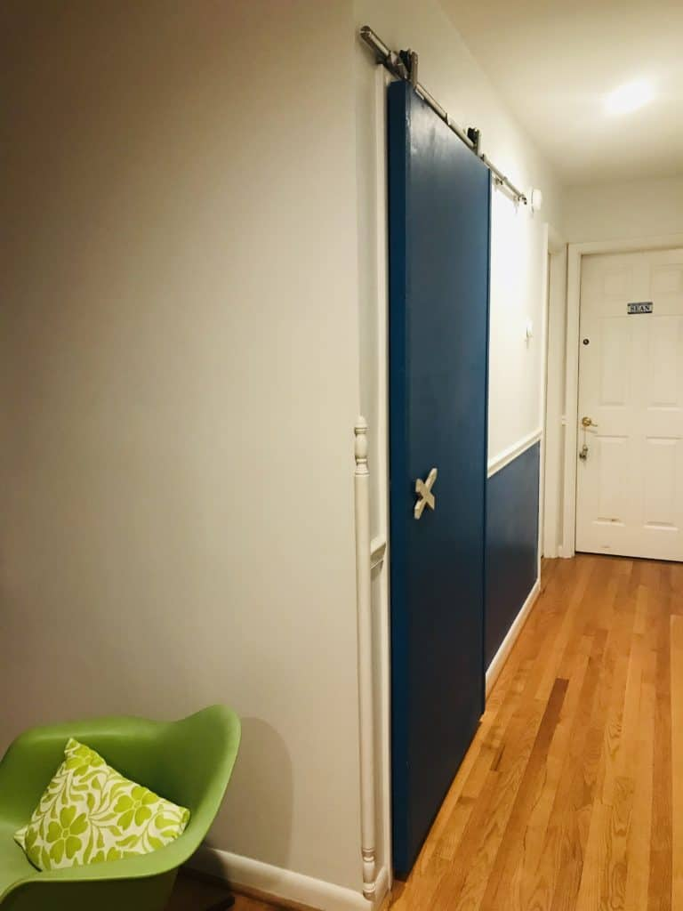 Finished barn door, DIY blue barn door