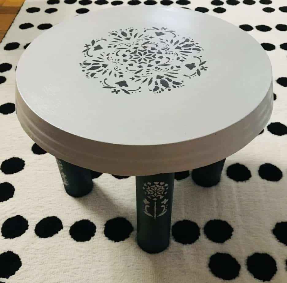 little plant stool with stencil