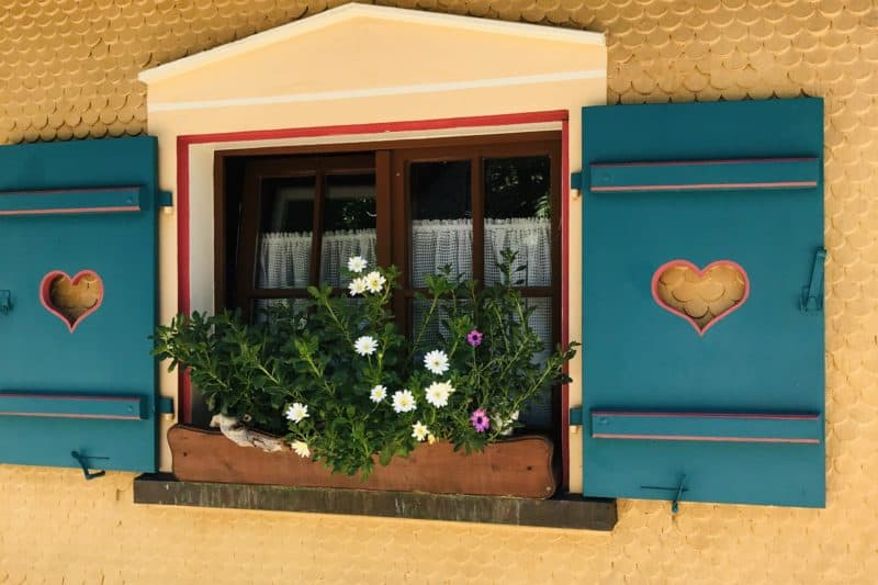 window with teal shutters